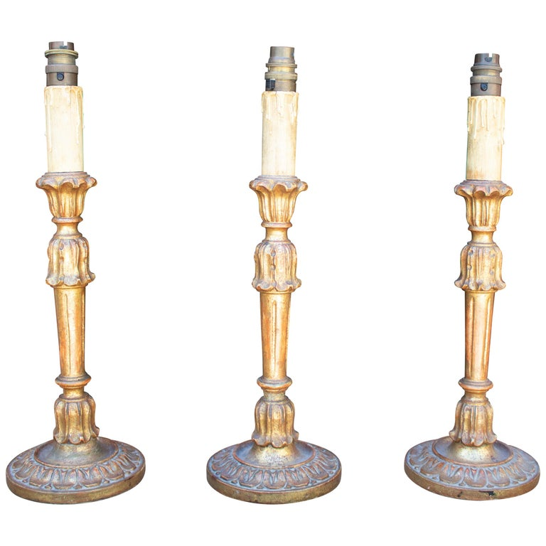 1970s Spanish Set of Three Sconce Shaped Table Lamps For Sale