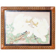1970s Spanish Two Parrot Painting on Cloth with Woven Wicker Frame