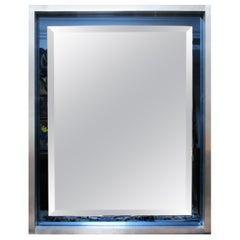 1970s Spanish Vintage Aluminium Mirror and Blue Glass Frame