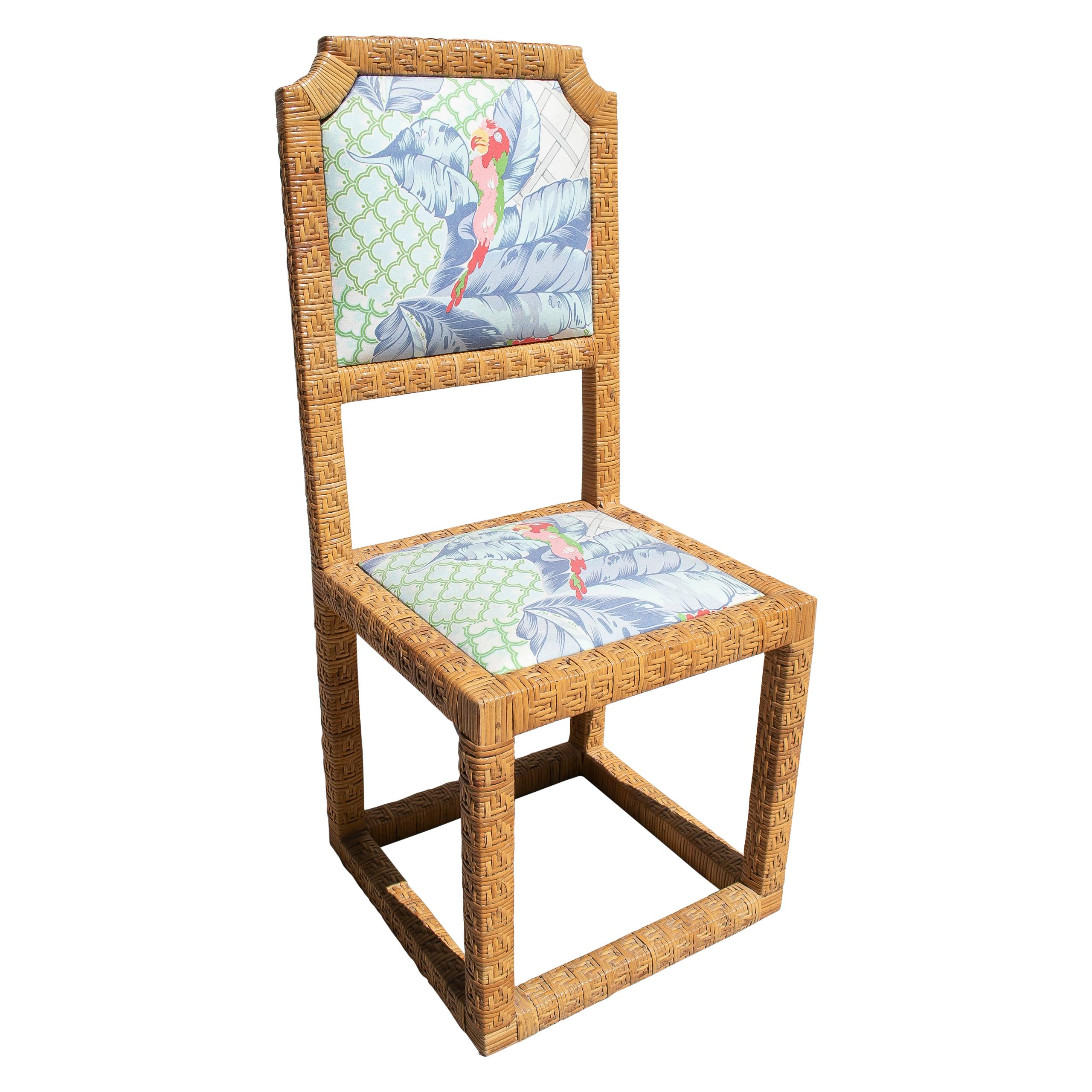 1970s Spanish Vintage Hand Woven Lace Wicker Chair w/ Original Upholstery
