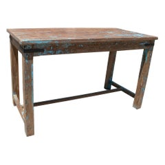 1970s Spanish Washed Wood Farmhouse Table w/ Crossbeam