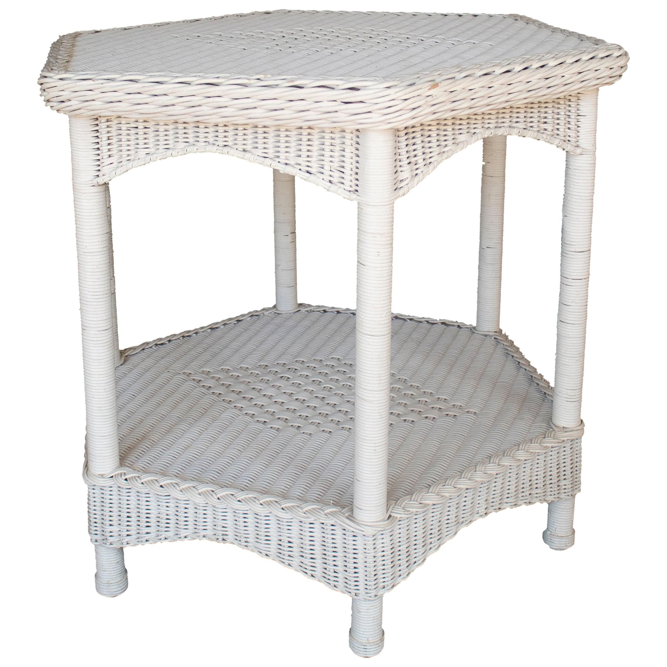 1970s Spanish White Octagonal Wicker Side Table