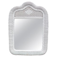 1970s Spanish White Woven Wicker Wall Mirror