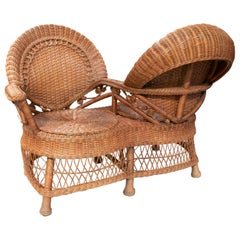 1970s Spanish Wicker Courting Sofa