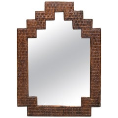 1970s Spanish Wicker Geometric Mirror