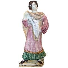"1970s Spanish Woman Figure Hand Painted ""Botijo"" Earthenware Water Jug"
