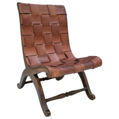 1970s Spanish Wood and Laced Leather Chair