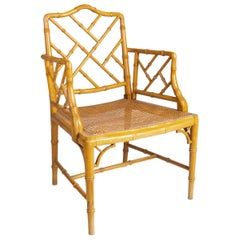 1970s Spanish Wooden Armchair Imitating Bamboo with Woven Wicker Seat