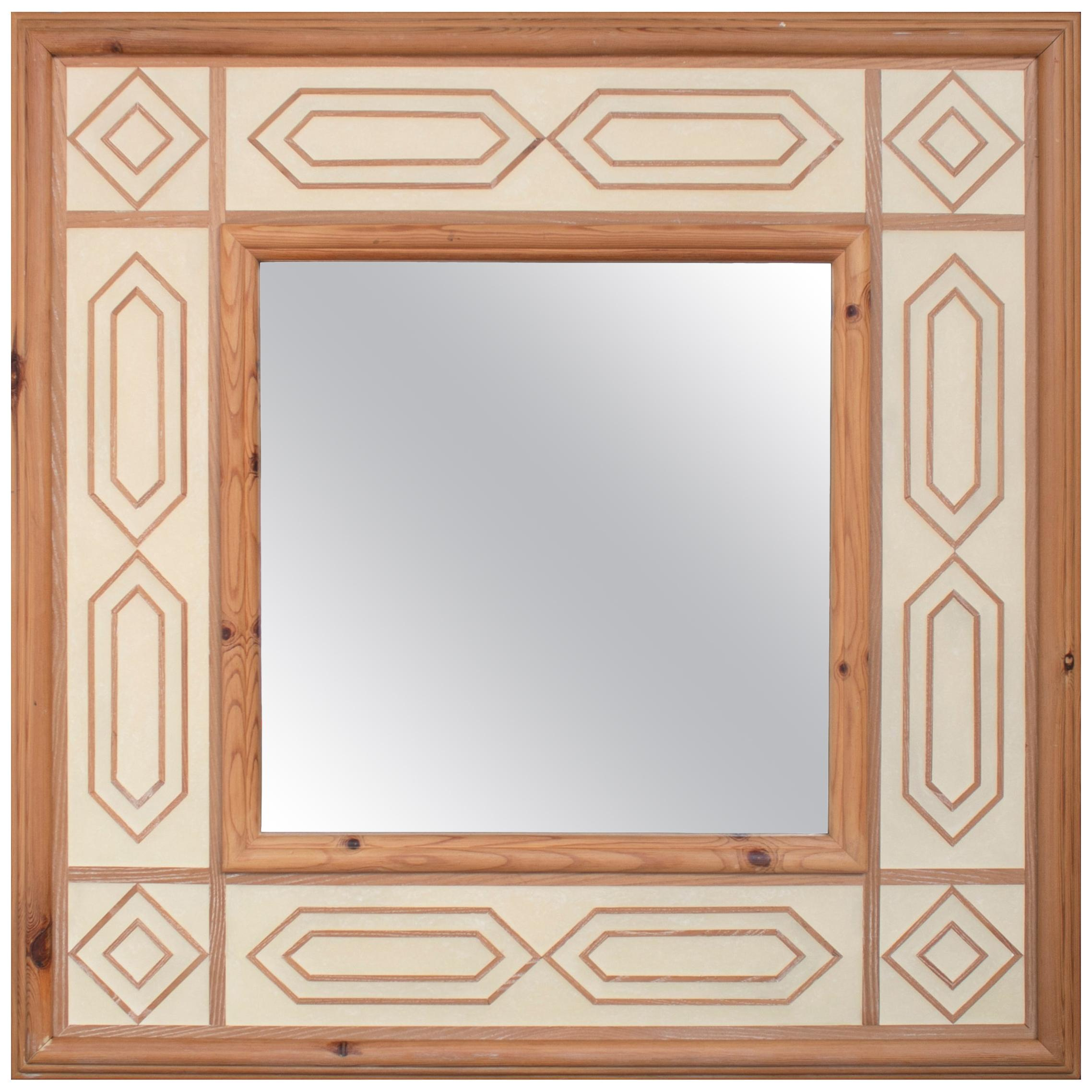 1970s Spanish Wooden Mirror Frame with Geometric Decoration