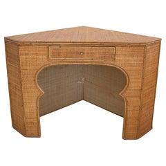 1970s Spanish Woven Wicker 1-Drawer Corner Table