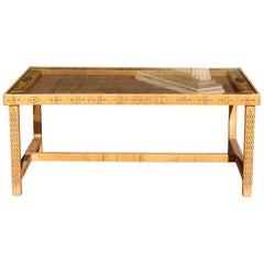 1970s Spanish Woven Wicker Wooden Coffee Table