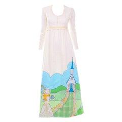 1970s Spring Bride Victorian Inspired Vintage Ivory Cotton Applique Maxi Dress