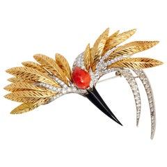 1970s Spritzer & Fuhrmann Coral Onyx Diamond Gold Stork Bird Brooch