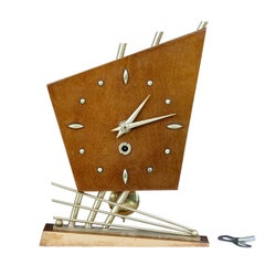 1970s Sputnik Style Satinwood Table Clock