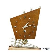 1970s Sputnik Style Satinwood Table Clock