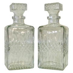 1970s Square Glass Decanters, Pair