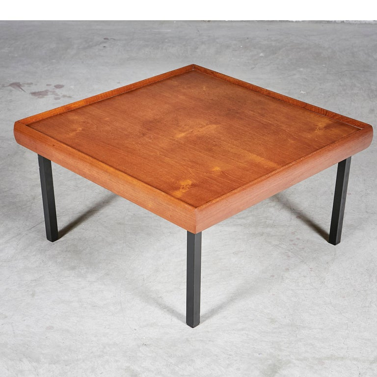 1970s Square Teak Wood Coffee Table For Sale at 1stdibs