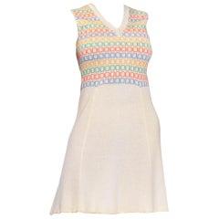 1970S ST JOHN Cream Rayon Blend Knit Mod Dress