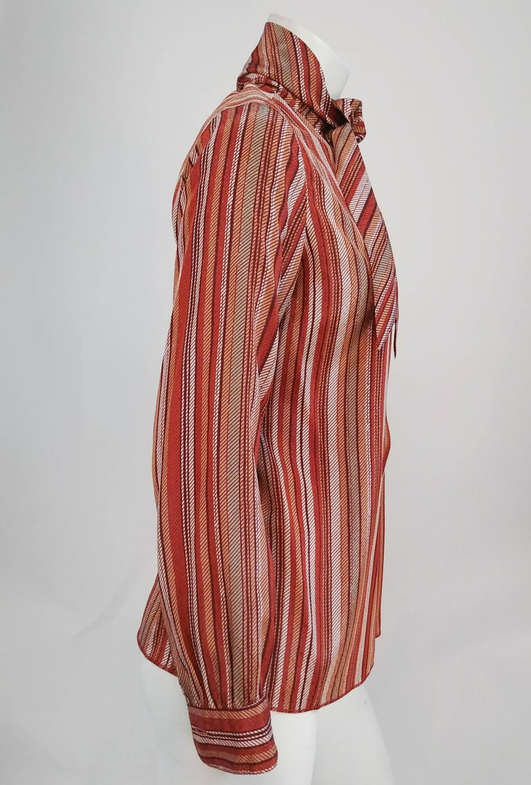 Brown St. John Neck Tie Striped Blouse, 1970s  For Sale