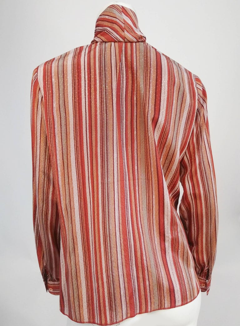 St. John Neck Tie Striped Blouse, 1970s  In Good Condition For Sale In San Francisco, CA