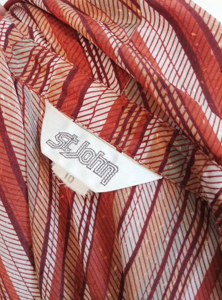 Women's St. John Neck Tie Striped Blouse, 1970s  For Sale