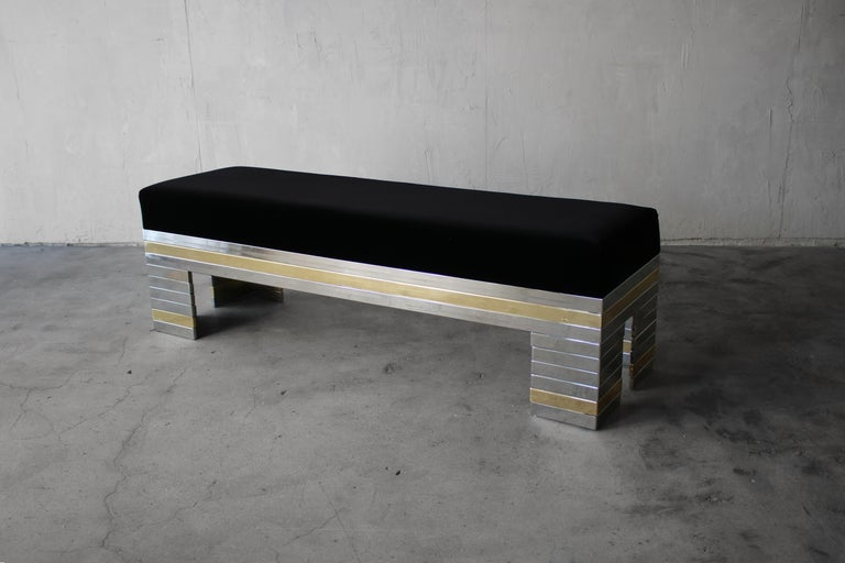 Regency 1970s Stacked Chrome and Brass Bench For Sale