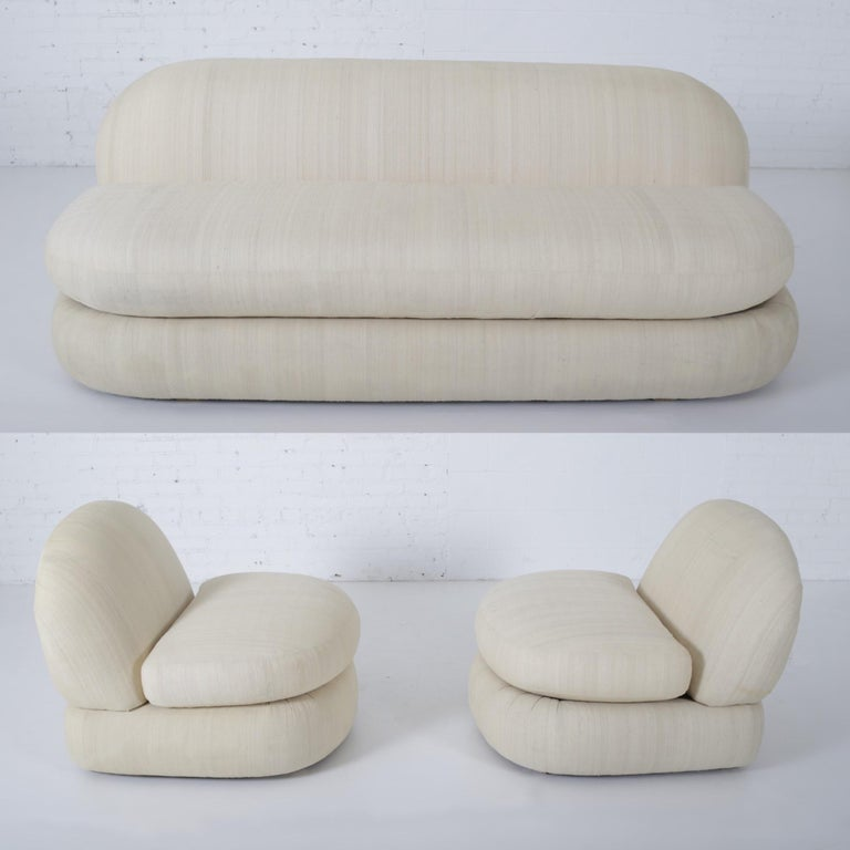 Silk 1970s Stacked Pouf Slipper Sofa For Sale