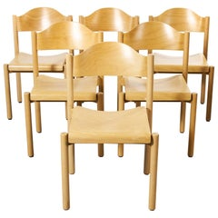 1970s Stacking Beech Dining Chairs by Hiller, Set of Six