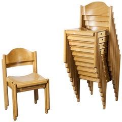 1970s Stacking Beech Dining Chairs by Hiller, Set of Twelve