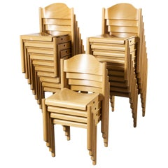 1970s Stacking Beech Dining Chairs by Hiller, Set of Twenty Four