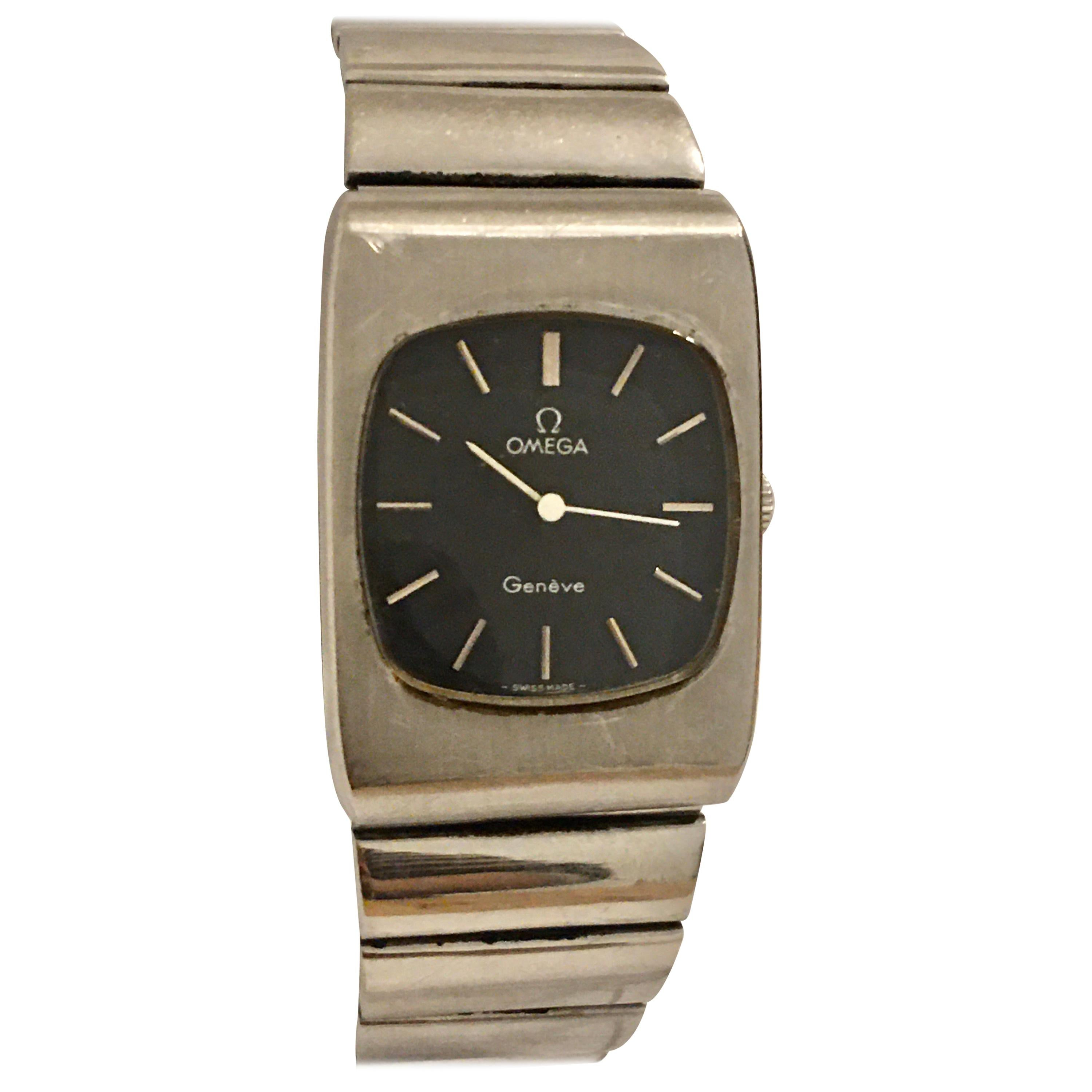 1970s Stainless Steel Omega Geneve Mechanical Watch