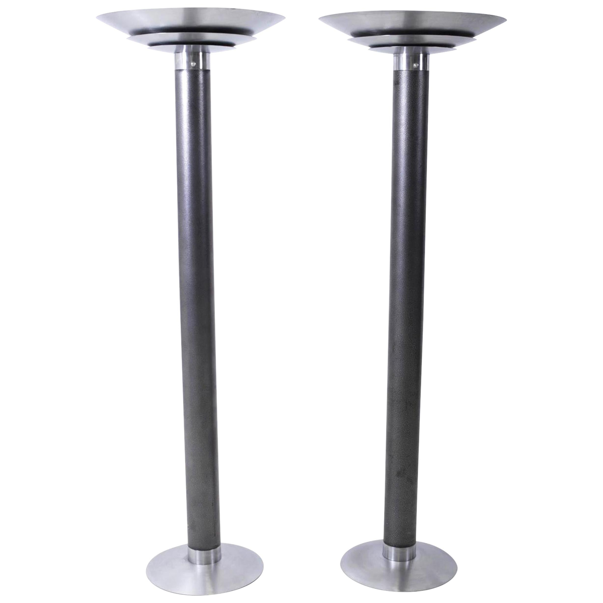 1970s Stainless Steel Oversized Torchiere Floor Lamps