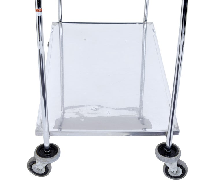 Swedish 1970s Stainless Steel Trolley For Sale