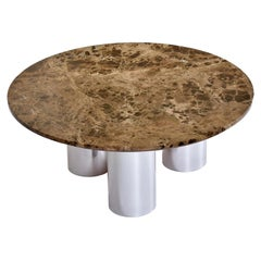 1970's Stainless Steel Tubular Pedestal Round Marble Coffee Table