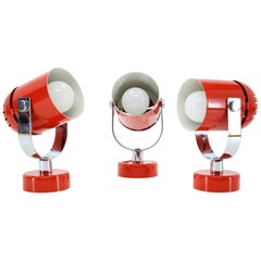 1970s Stanislav Indra Set of Three Red Wall/Table Lamps, Czechoslovakia