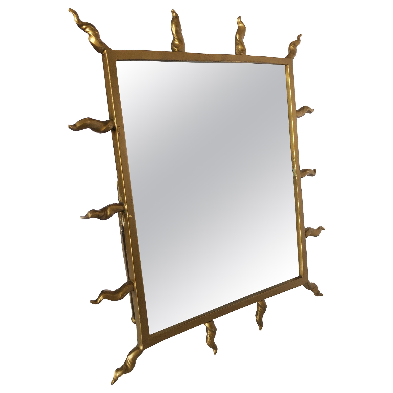 1970s Starburst Goldtone Tabletop Vanity Mirror