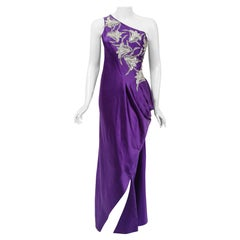 1970's Stavropoulos Couture Purple Silk One-Shoulder Applique Sculpted Gown