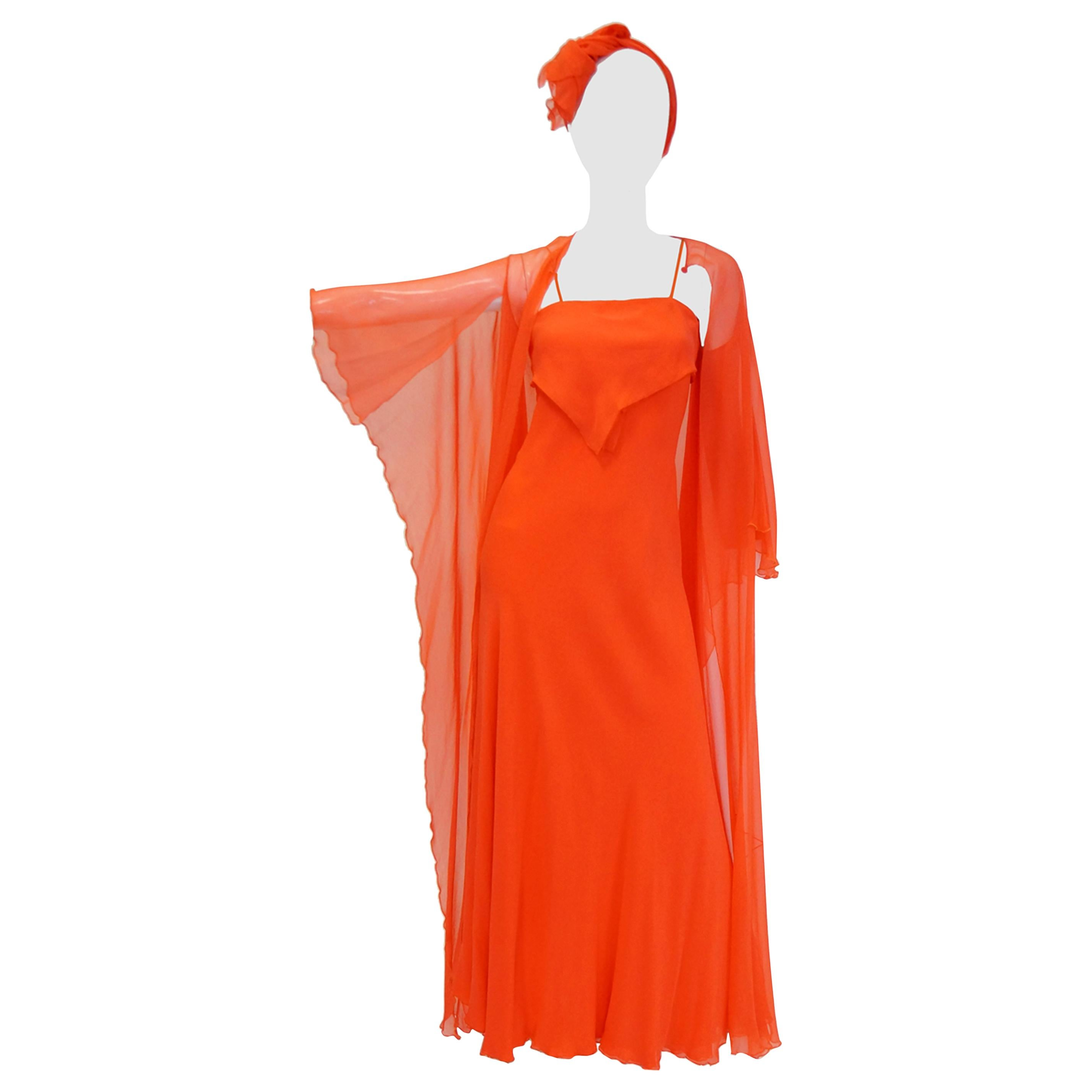 1970s Stavropoulos Neon Red Silk Evening Dress and Sheer Coat