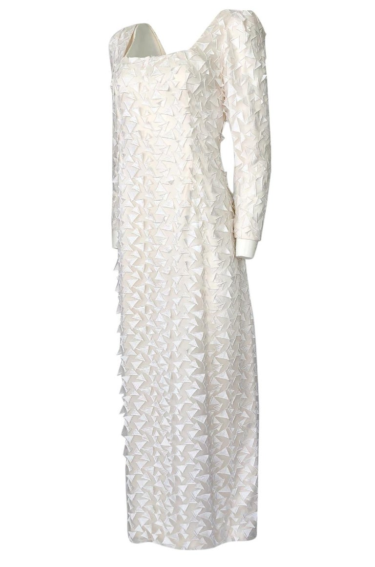Women's 1970s Stavropoulos White Applique & Ivory Net Full Length Sheath Dress For Sale