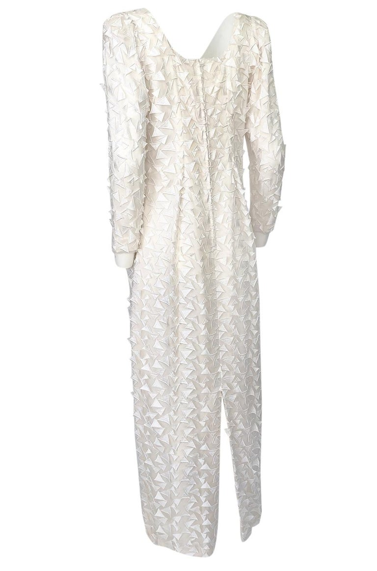1970s Stavropoulos White Applique & Ivory Net Full Length Sheath Dress For Sale 1