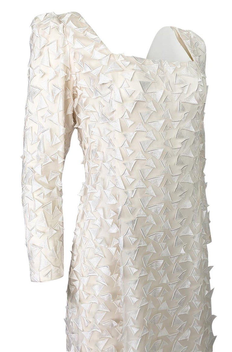 1970s Stavropoulos White Applique & Ivory Net Full Length Sheath Dress For Sale 3