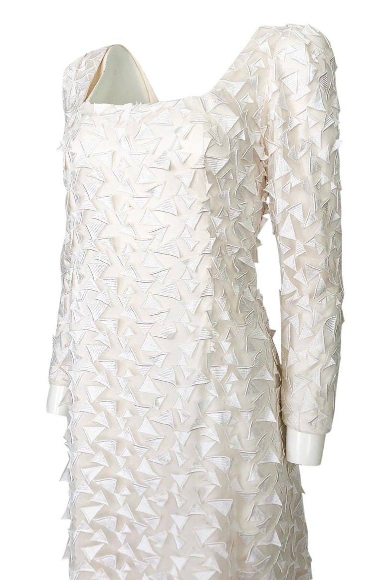 1970s Stavropoulos White Applique & Ivory Net Full Length Sheath Dress For Sale 4