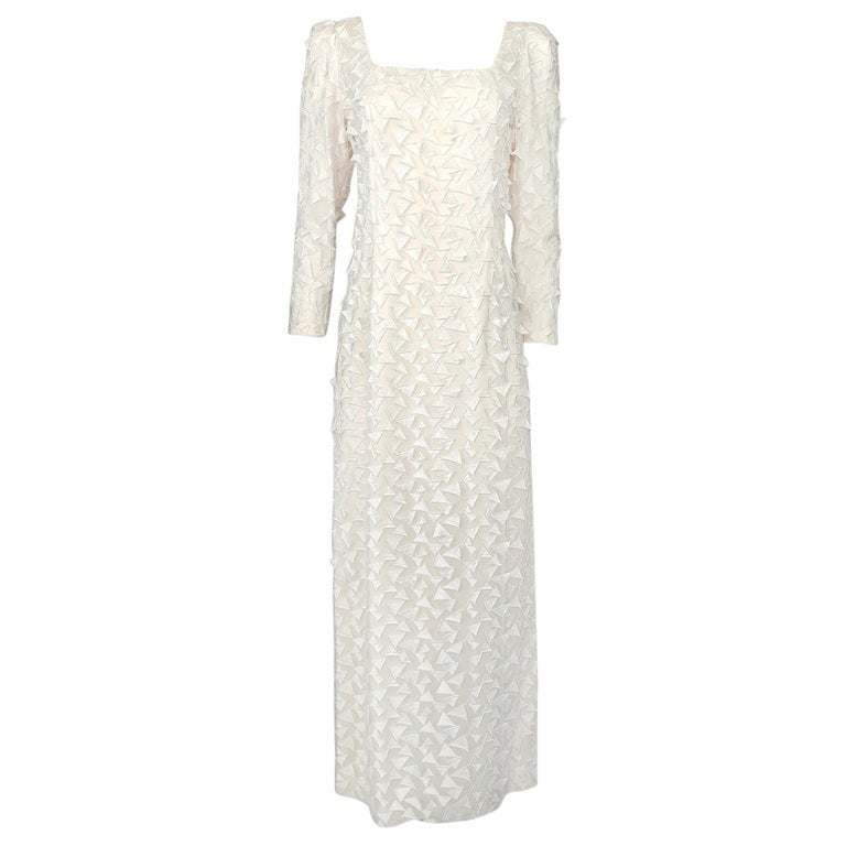 1970s Stavropoulos White Applique & Ivory Net Full Length Sheath Dress For Sale