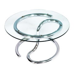 "1970s Steel Chrome and Glass ""Cobra"" Coffee Table Attributed to Giotto Stoppino"