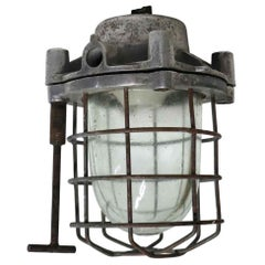 1970s Steel and Glass Nautical Caged Ship Light with Wrench
