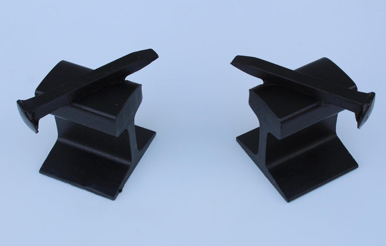 Mid-Century Modern 1970s Steel Railroad Beam Bookends For Sale