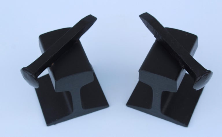 American 1970s Steel Railroad Beam Bookends For Sale