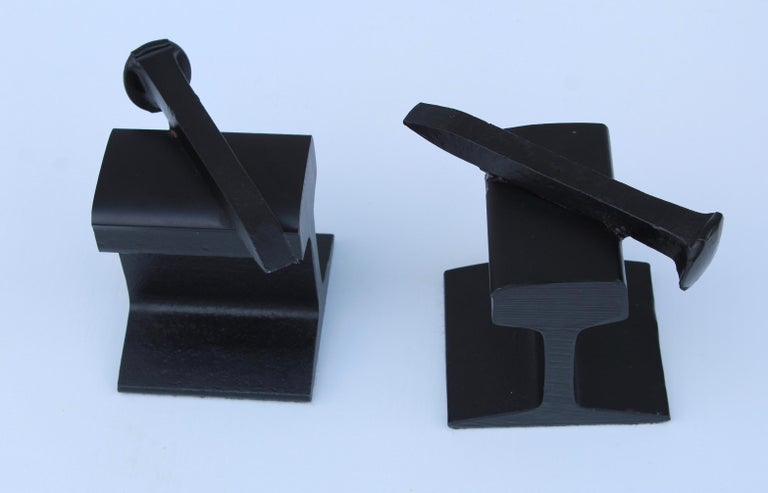 1970s Steel Railroad Beam Bookends In Good Condition For Sale In New York City, NY