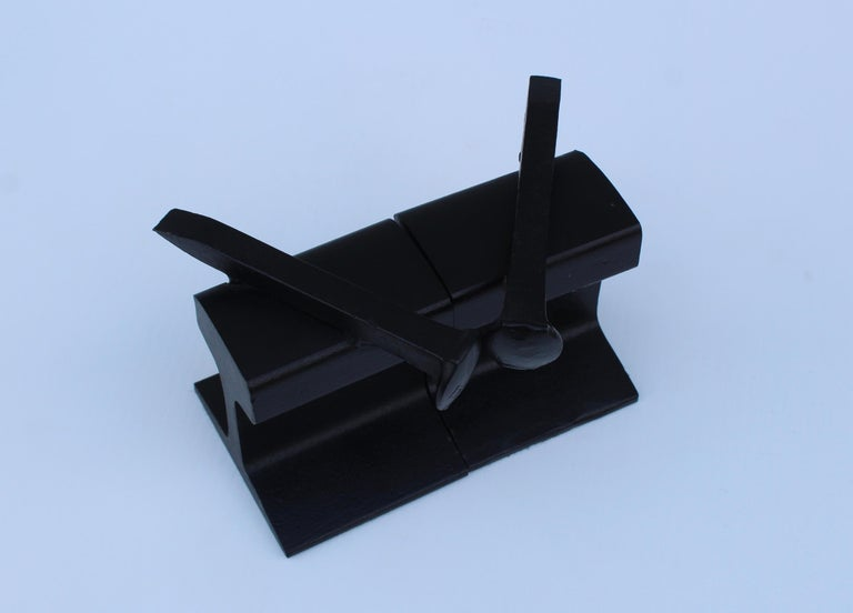 20th Century 1970s Steel Railroad Beam Bookends For Sale