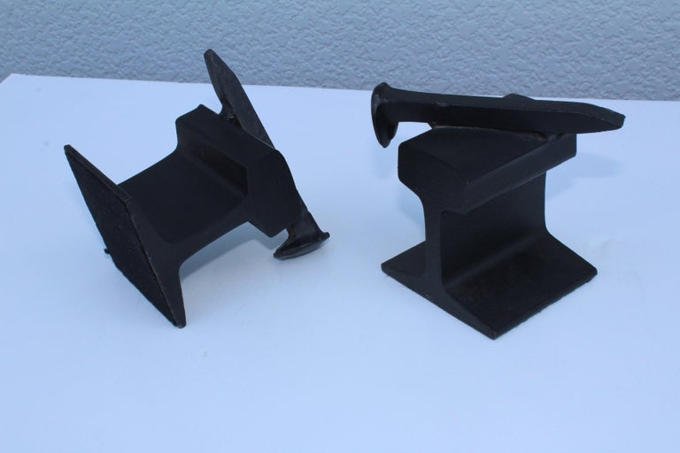 1970s Steel Railroad Beam Bookends For Sale 1